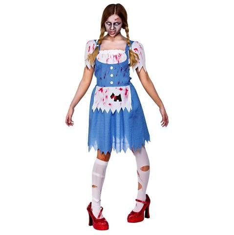 (S) Deceased Dorothy Ladies Zombies Costumes for Adult Womens Living Dead Halloween Trick Treat Party Fancy Dress Up Outfits by Wicked Wicked