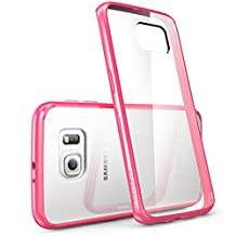 Galaxy S6 Edge Case, [Scratch Resistant] i-Blason **Clear** [Halo Series] Samsung Galaxy S6 Edge Hybrid Bumper Case Cover (Clear/Pink)