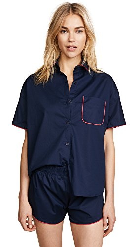 Maison du Soir Women's Jackson PJ Top, Navy, Medium by Maison Du Soir (Image #1)