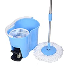Super buy Microfiber Spinning Mop Easy Floor Mop W/Bucket 2 Heads 360 Rotating Head Blue by Super buy