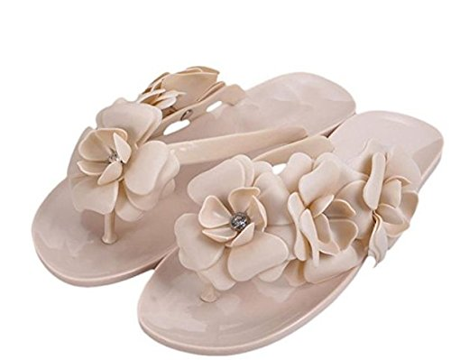 diseño Flores Fashion Apricot Mujer wiBille de para 2 Yellow 38 Zapatillas de Playa 2 wYq8C