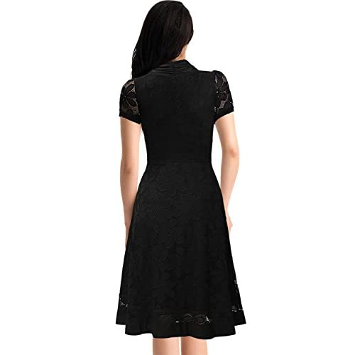 a6f54c61ad durable service Miusol Women s Cap Sleeve 1950s Style Vintage Black Lace  A-line Dress