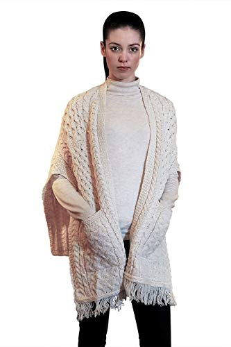 - 100% Irish Merino Wool Ladies Pocket Shawl by West End Knitwear