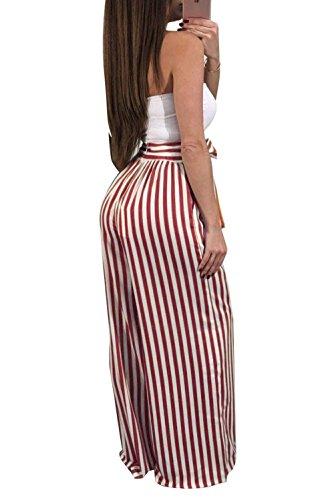 Pantaloni Inclusa Trousers Baggy Damigella Stoffa Pantaloni Donna Estivi Cintura Di Palazzo Waist Pants Rossi Stripe High Lannister Fashion Pantaloni Pantaloni Lunga TpwHtF