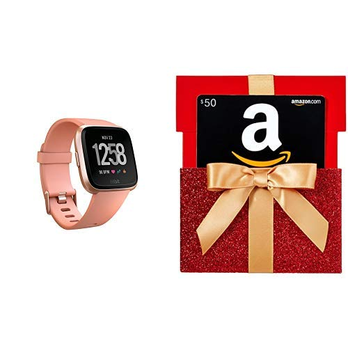 Fitbit Versa Smart Watch, Peach|Rose Gold Aluminium, One Size (S & L Bands Included) with $50 Gift Card