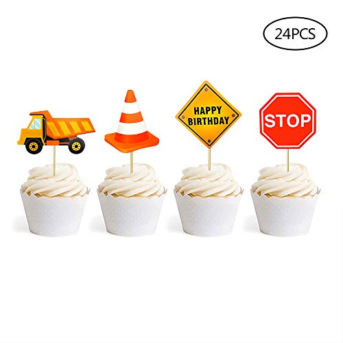 24 PCS Construction Cupcake Toppers Dump Trucks Cupcake Picks Kids Birthday Party Decoration Baby Shower Candy Bar (Best Bulk Candy Site)