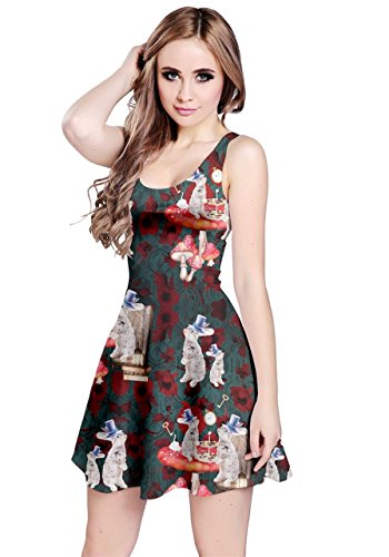 CowCow Womens Vintage Rabbit Green Sleeveless Dress, Vintage - M -
