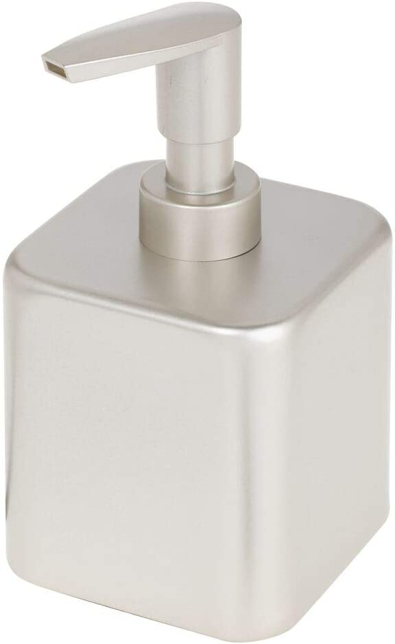 mDesign Small Modern Square Metal Refillable Liquid Hand Soap Dispenser Pump Bottle for Kitchen, Bathroom, Powder Room - Holds Hand Soap, Dish Soap, Hand Sanitizer & Essential Oils - Satin