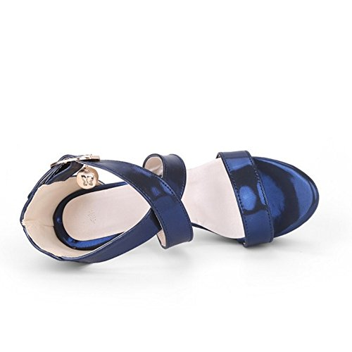 High Toe Shoes Stiletto Strap Open Cross Elegant Sandals TAOFFEN Women Blue Heel Criss Fashion w1tqSc0xA