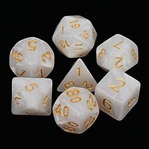 Pack de 7 Marbling Polyhedral dados Set con bolsa de portátil para ...