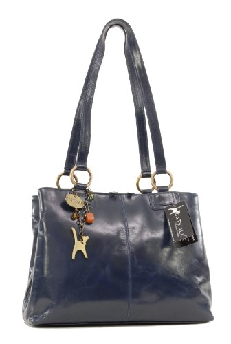 "Borsa tote grande vintage di Catwalk Collection""Bellstone"" Blu Navy"