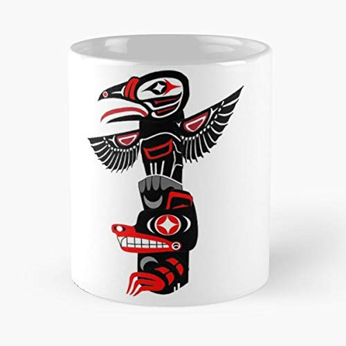 (Totem Pole Pacific Northwest Tribal Eagle Wolf - Coffee Mugs Best Gift For Father Day)