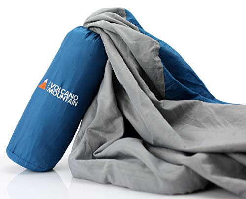 Volcano Mountain Sleeping Bag Liner – Compact Travel and Soft Camping Sheets. Best Sleeping Bag Liner for Backpacking, Hiking, XL Pillowcase + Storage Sack + with Full Length Zipper