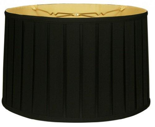 Royal Designs BS-748-16BLKGL Shallow Drum English Bo X Pleat Basic Lamp Shade, 15
