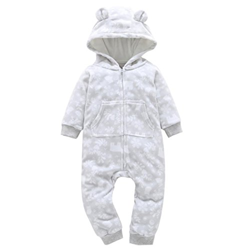 Sharemen Baby Boys Girls Thicker Grid Jumpsuit Hoodie Romper Outfit Bodysuit (0-6 Months, White2) Dog Coats Winter Clothing Hooded