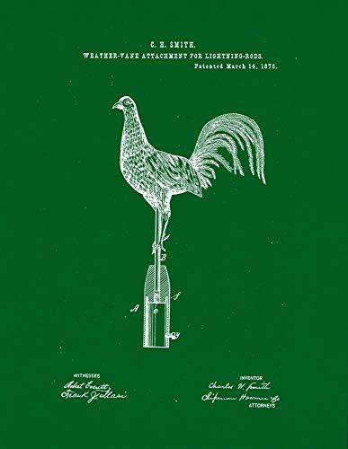 "Weather-Vane Attachment Lightning-Rods Patent Print Green (8"" x 10"") M14045"