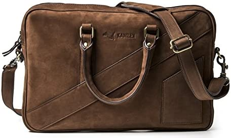 ffd61d8ebfd KANZEK Leather Laptop Briefcase for Men and Women - Beautiful Distressed  Vintage Brown/Cognac Patina - Modern Luxury Work Leather Bag for Business  ...