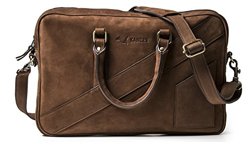 KANZEK Leather Laptop Briefcase for Men and Women - Beautiful Distressed Vintage Brown/Cognac Patina - Modern Luxury Work Leather Bag for Business Professionals - Fits 14