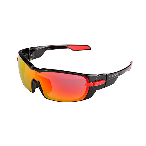 Moofee Polarized Sports Sunglasses with Rotatable Legs and 3 interchangeable Lenses Outdoor Glasses for Men Women, TR90 Unbreakable UV Protection Running Driving Fishing Cycling Glasses (Black-Red)