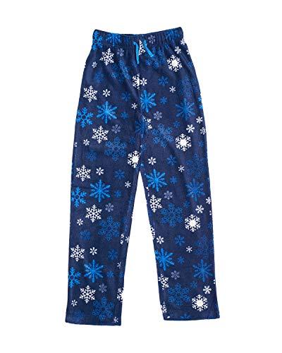 Pajama Boys Fleece Pants (Ashford & Brooks Junior Micro Fleece Sleep Lounge Pajama Pants - Navy Frozen Snowflake - Large)