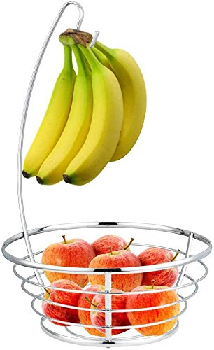 Perfect Design Silver Chrome Fruit Basket with Banana Tree Keep Fruit & Bananas Neat And Close At Hand
