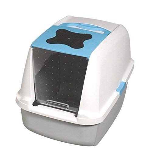 Catit Hooded Caja de arena con bandeja para gato, blanco/azul