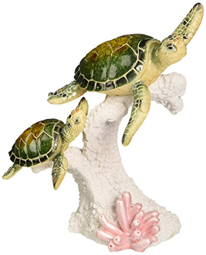 StealStreet SS-UG-YXC-901 Mother and Baby Green Sea Turtle Swimming Statue Display, 7.5