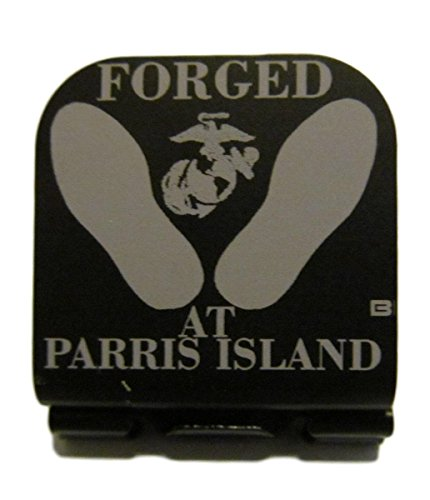 - Thunderbolt Gunworks USMC Forged at Parris Island Footprints Laser Etched Hat Clip Black