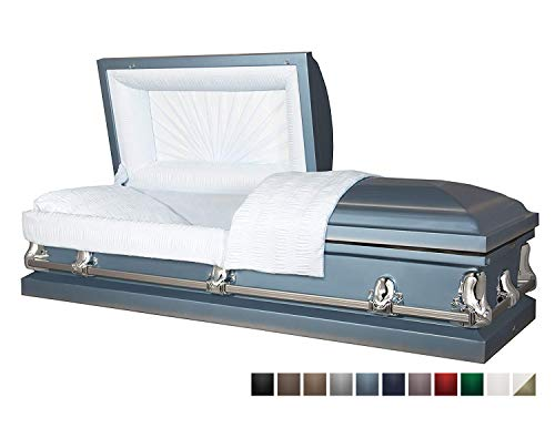 Titan Casket - Orion Light Blue Steel Casket with Light Blue Interior