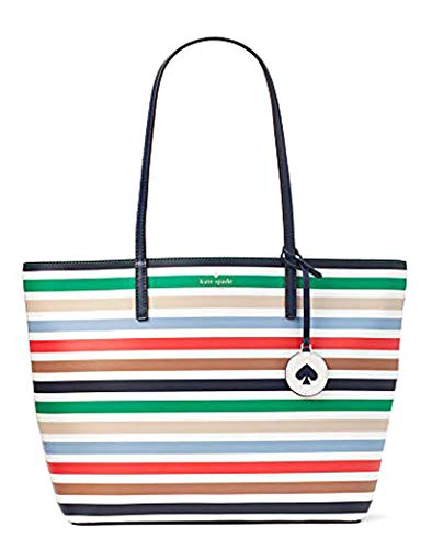 Kate Spade Striped Handbags - Kate Spade Tanya Leather Tote Bag Purse Handbag for Work School Office Travel (Multi Stripes)