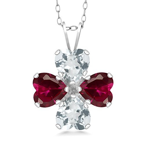 Gem Stone King 3.26 Ct Sky Blue Aquamarine Red Created Ruby 925 Sterling Silver Pendant