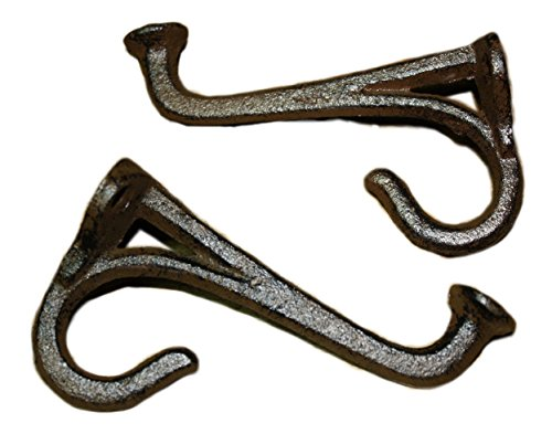 WD- 2 Pcs -Cast iron Antique Style Rustic Tack Saddle Hook wall mount Hanger for Coat,Tower Hat Hooks, Key Rack home any room Hook Rust brown finish