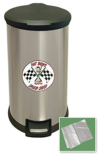 New 8 Gallon Round Stainless Steel Step Trash Can Waste Basket Featuring Your Choice of a Vintage Gas Themed Decal - FREE trash liner included! (Fat Boys)