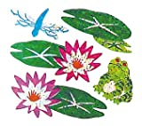 Bulk Roll Prismatic Stickers, Lily Pads / Frog / Dragonfly (100 Repeats)