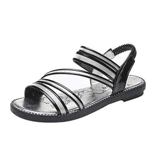 Womens Sandals,Clode® Fashion Elegant Ladies Girls Summer Rhinestone Elastic Cross-tied PU Leather Peep Toe Flat Sandals Summer Beach Shoes Black