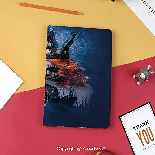 Case for Samsung Tab S3 9.7 SM-T820 SM-T825 Tablet Case Protective Cover Crystal Case,Queen,Queen of Death Scary Body Art Halloween Evil Face Bizarre Make Up Zombie,Navy Blue Orange Black]()