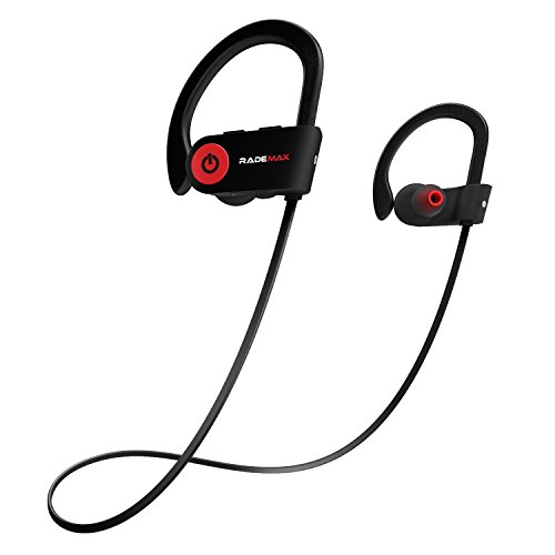 Bluetooth Headphones, Rademax Best Wireless Sports Earphones w/ Mic IPX7 Waterproof HD Stereo Sweatproof Earbuds for Gym Running Workout 9 Hour Battery Noise Cancelling Headsets