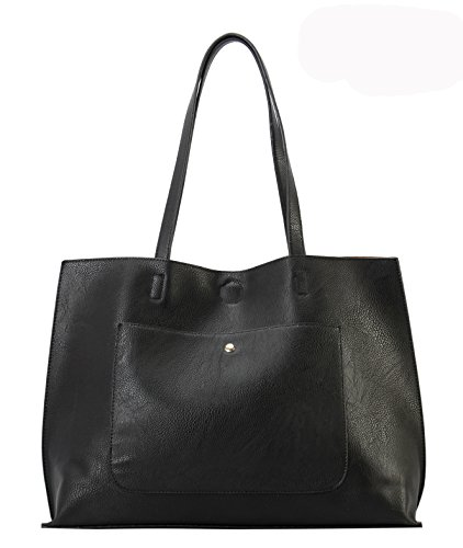 Design PU Tote Bag Black Oversize Diophy Leather Simple 1tqx1Z6