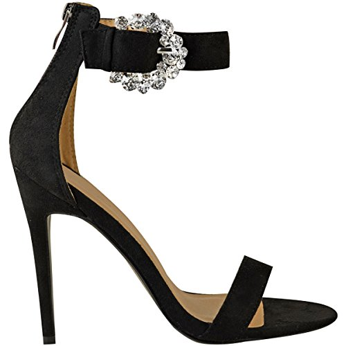 Black Thirsty Suede Womens Evening Size Party Faux Heels Diamante Barely Stiletto Buckle Fashion There P1pSU1