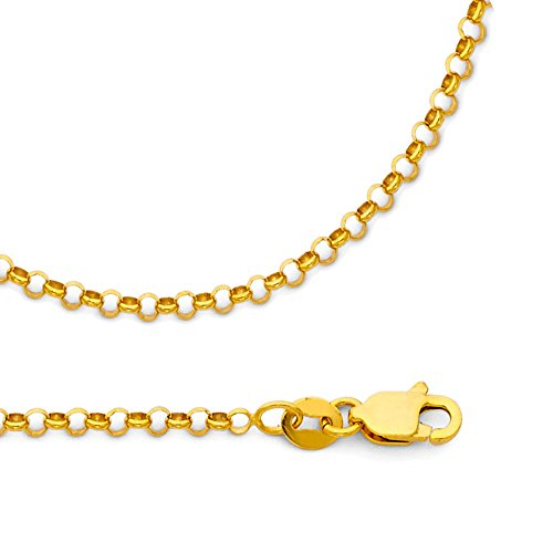 Cable Necklace Solid 14k Yellow Gold Cable Chain Round Rolo Links Polished Style, 2.1 mm - 18 inch