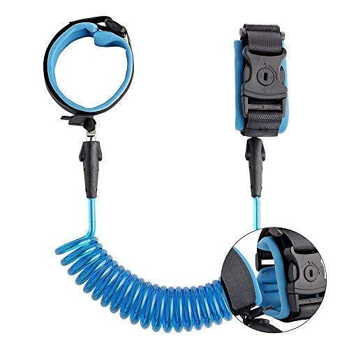 Anti Lost Wrist Link Kids Leash Child Safety Wristband Toddler Harness Leash with Lock (Blue)