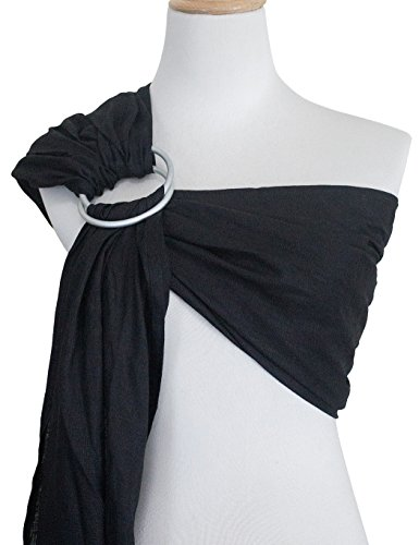 Pattern Infant Sling (Vlokup Ring Sling Baby Carrier Wrap | Luxury Linen and Cotton Baby Slings for Newborn, Infant, Toddlers, and Kids | Adjustable Metal Aluminum Rings, Lightweight Breathable, Great Shower Gift, Black)