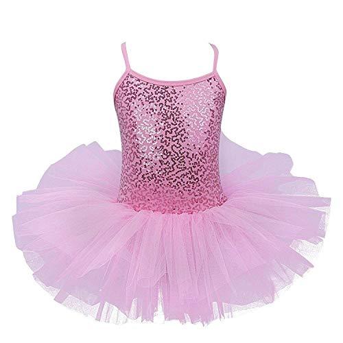 FEESHOW Girls Sequined Camisole Ballet Tutu Dress Skirted Leotard Ballerina Glittering Dance wear Costumes (4-5, Pink)