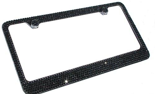Swarovski Crystal License Plate Frames (6 Row BLACK CRYSTAL on BLACK made w/ SWAROVSKI Elements Metal Sparkle Bling License Plate Frame & Caps Set)