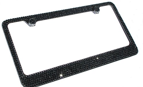 Hotblings 6 Row BLACK CRYSTAL on BLACK made w/SWAROVSKI Elements Metal Sparkle Bling License Plate Frame & Caps Set -