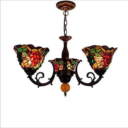 Yangqing, lampadario a sospensione vintage in vetro colorato E27 con 3 teste, lampada da soffitto per soggiorno, camera da letto, studio