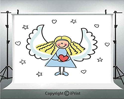 - Xmas Photography Backdrops Cute Little Girl with Wings Red Heart Stars Angel Blessing Heaven Holiday Decorative,Birthday Party Background Customized Microfiber Photo Studio Props,8x8ft,Black White Pal