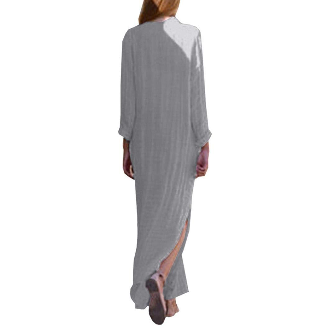 abdb152114 Amazon.com  Sttech1 Long Sleeve Linen Dress for Women