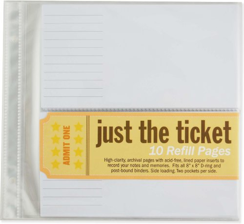 Just the Ticket Refill Sheets (8 inch x 8 inch refill) (Diary Tickets Stub)