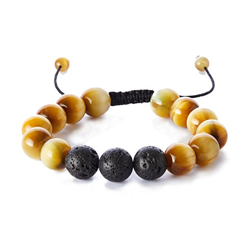 Gold Braided Tassel (Balance Natural 12mm Tiger Eye Lava Rock Stones Bracelet,Healing Energy Beads Yoga Handmade Meditation Braided Wrist Bracelet for Men and Women(Gold))